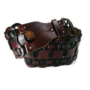 Mohogany Waist Belt Leather Linked Rivet Small S